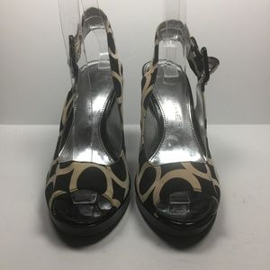 MARC FISHER Slingback Peep Toe Abstract Fabric 6.5